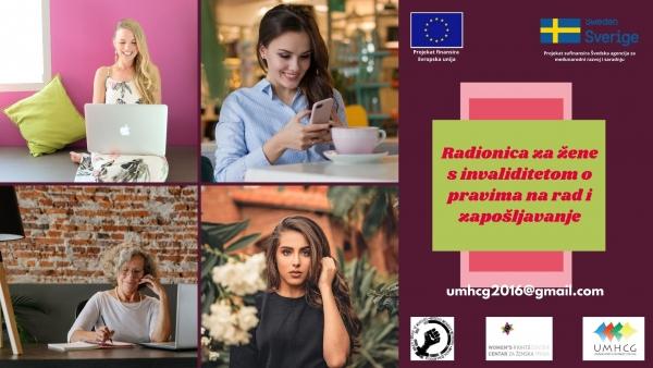 NAJAVA: UMHCG organizuje radionicu za žene s invaliditetom o pravima na rad i zapošljavanje u Nikšiću